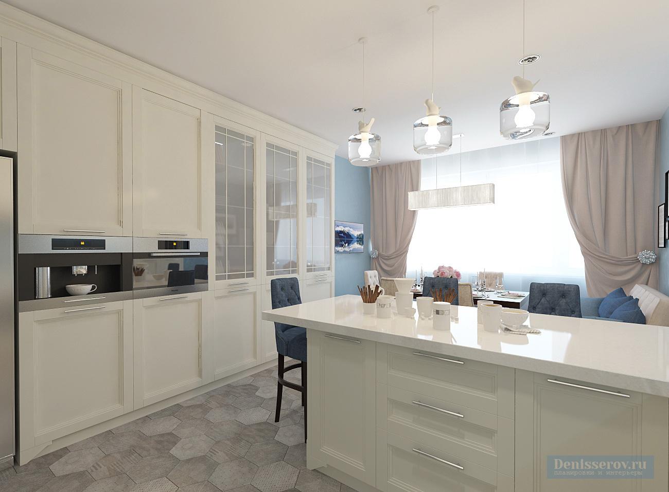 проект кухни 20 кв.м. в классическом стиле