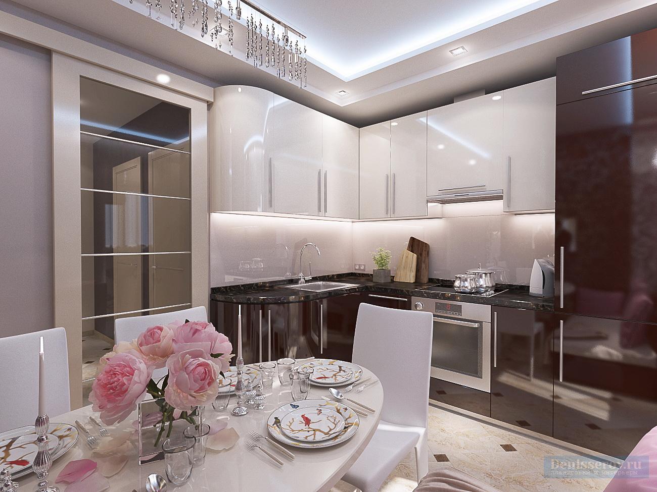 Дизайн-проект кухни 9 кв. м в бело-коричневом цвете