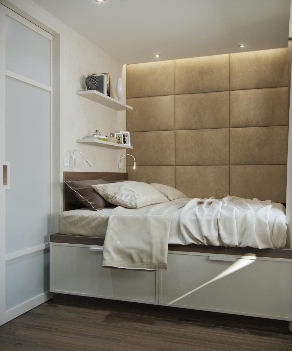 Дизайн проект интерьера маленькой спальни 8 кв.м. с балконом