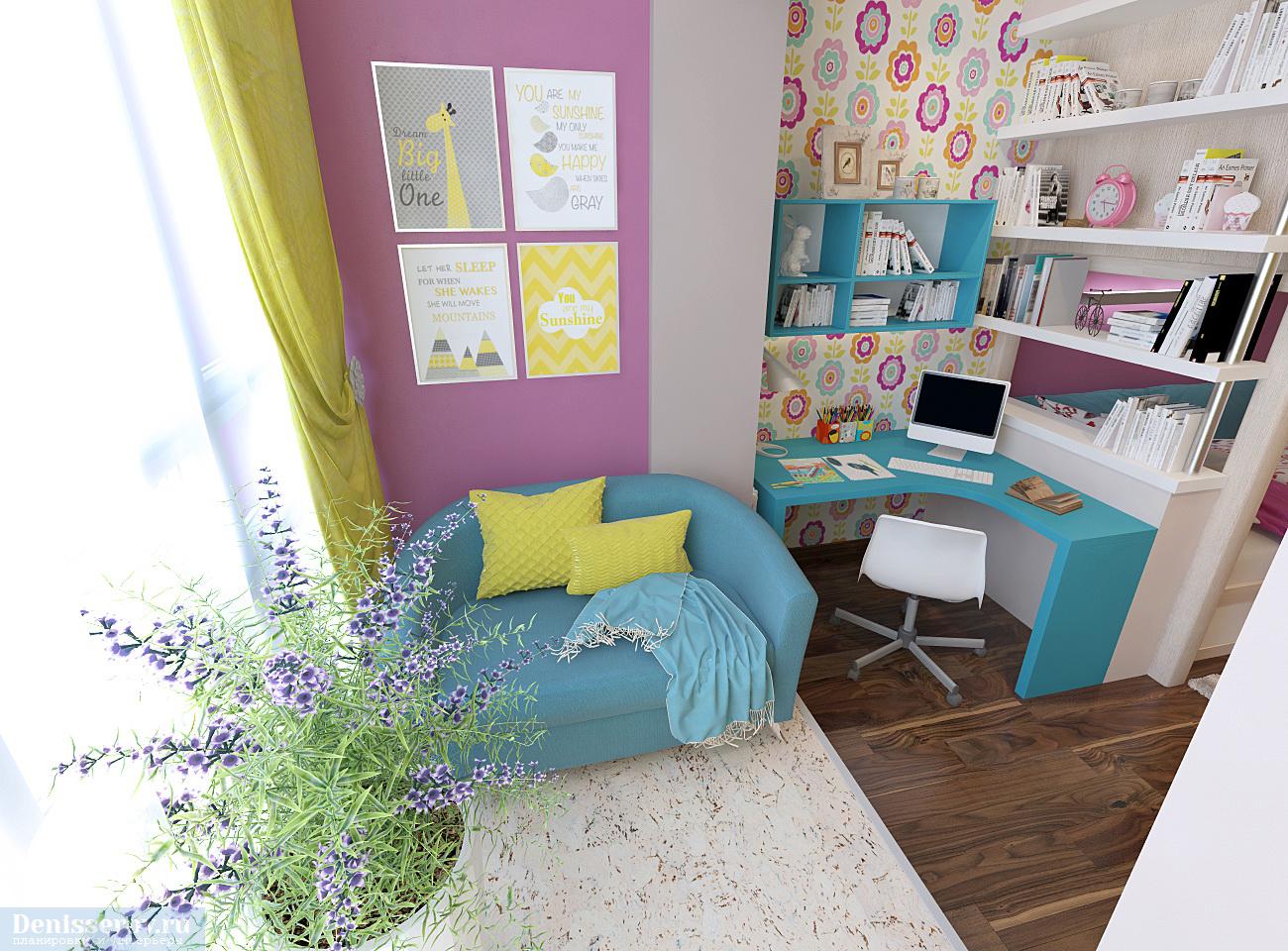 Дизайн-проект яркой детской комнаты 22 кв. м в классическом .