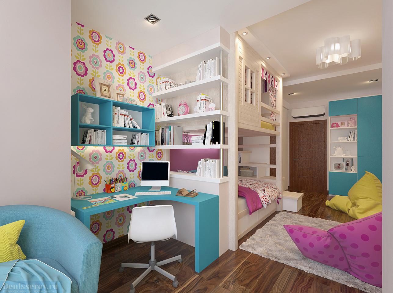 Детская 16 кв м дизайн для девочки