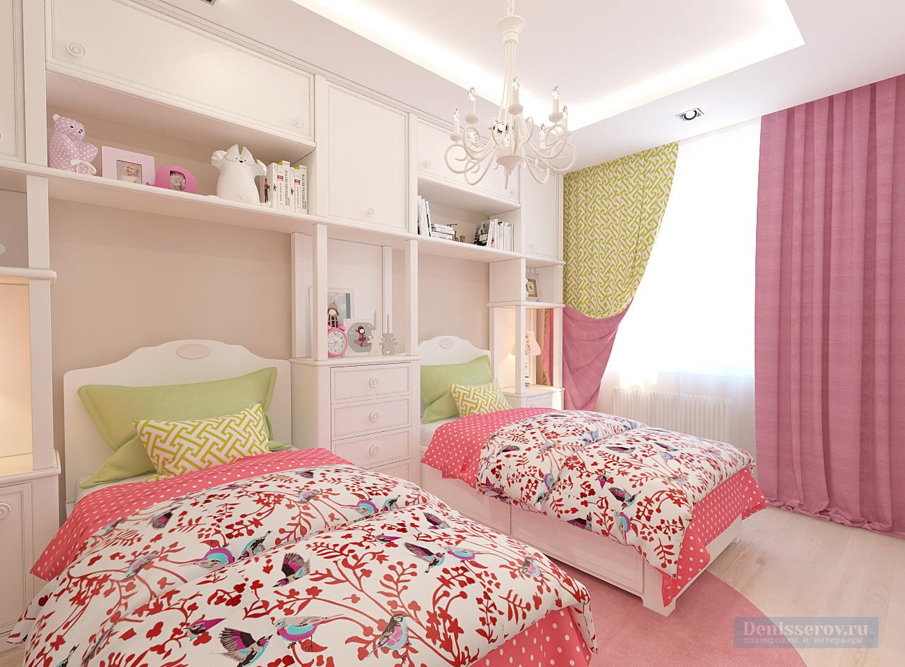 Дизайн-проект детской комнаты 15 кв. м в классическом стиле для двух девочек