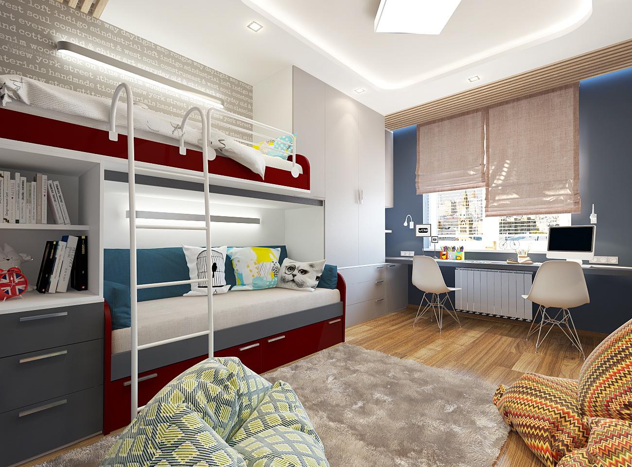 Дизайн детской спальни 12 кв.м в современном стиле