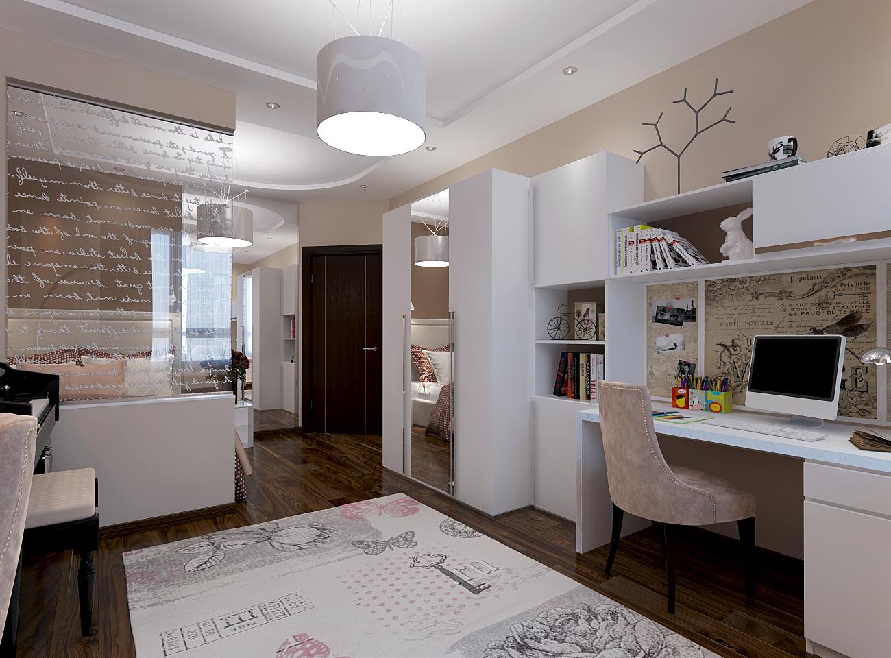 Дизайн-проект детской комнаты 18 кв. м с современным дизайном для подростка