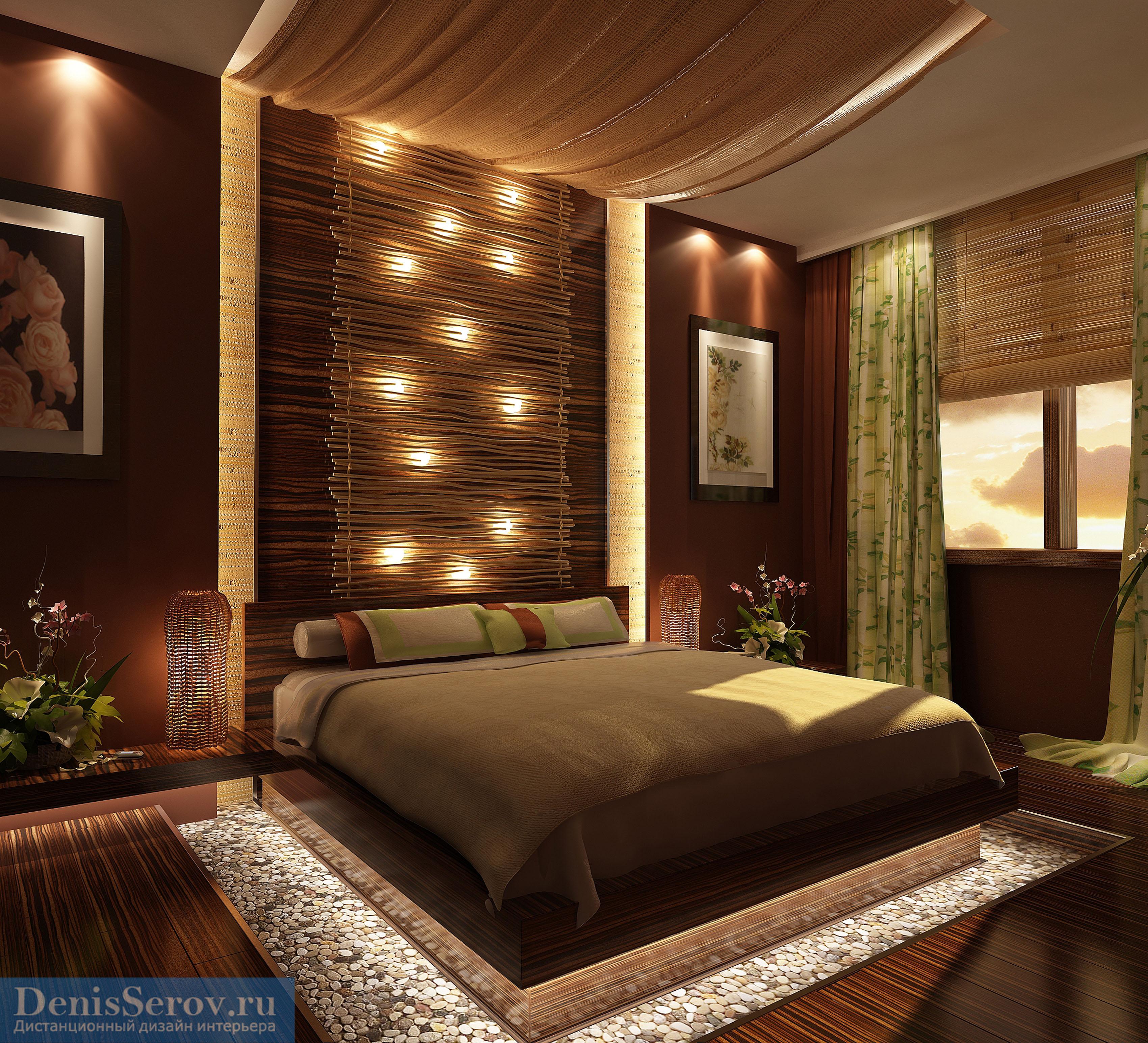 Акцентная стена в спальне, варианты отделки