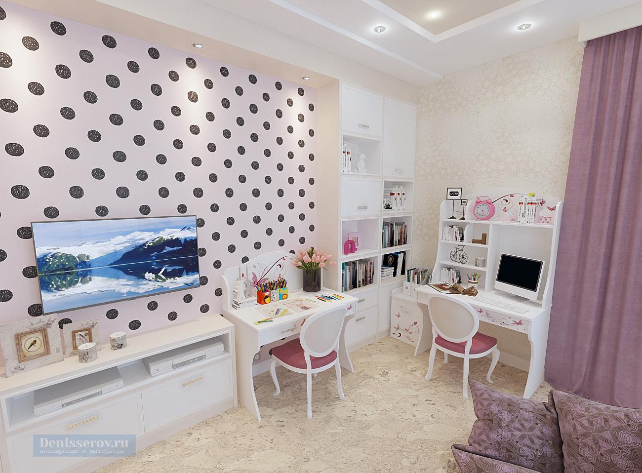 Дизайн-проект большой детской комнаты 30 кв. м для двух девочек