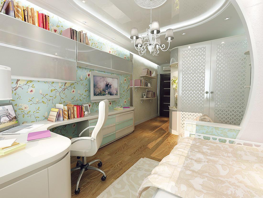 Дизайн детской комнаты в длину