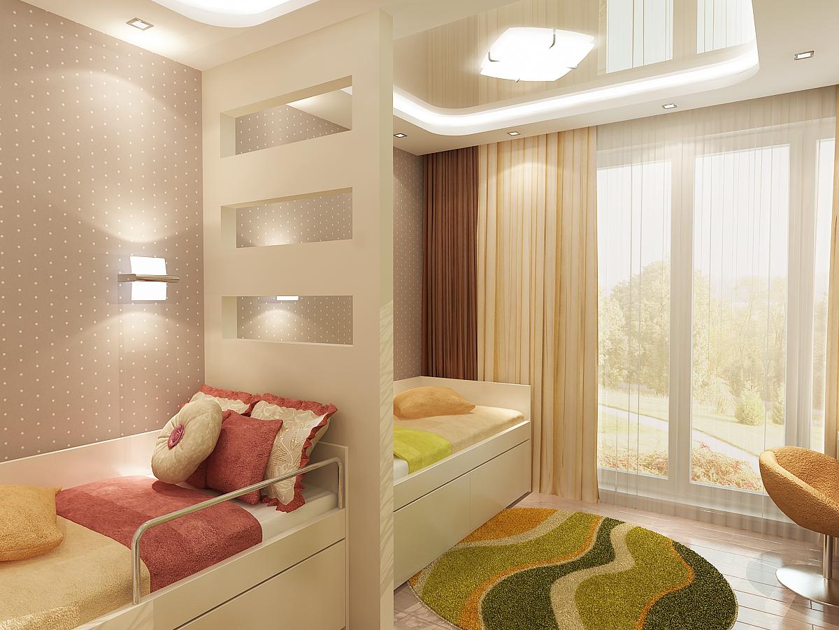 Дизайн-проект детской комнаты 15 кв. м для двух разнополых детей