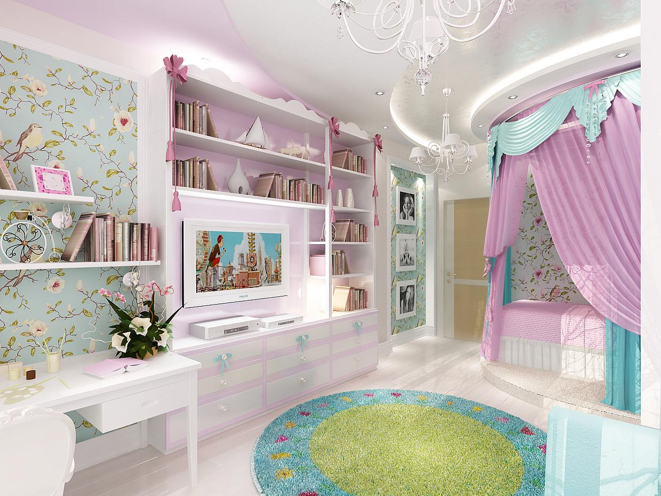 Дизайн-проект детской комнаты 21 кв. м в классическом стиле для девочки 7 лет