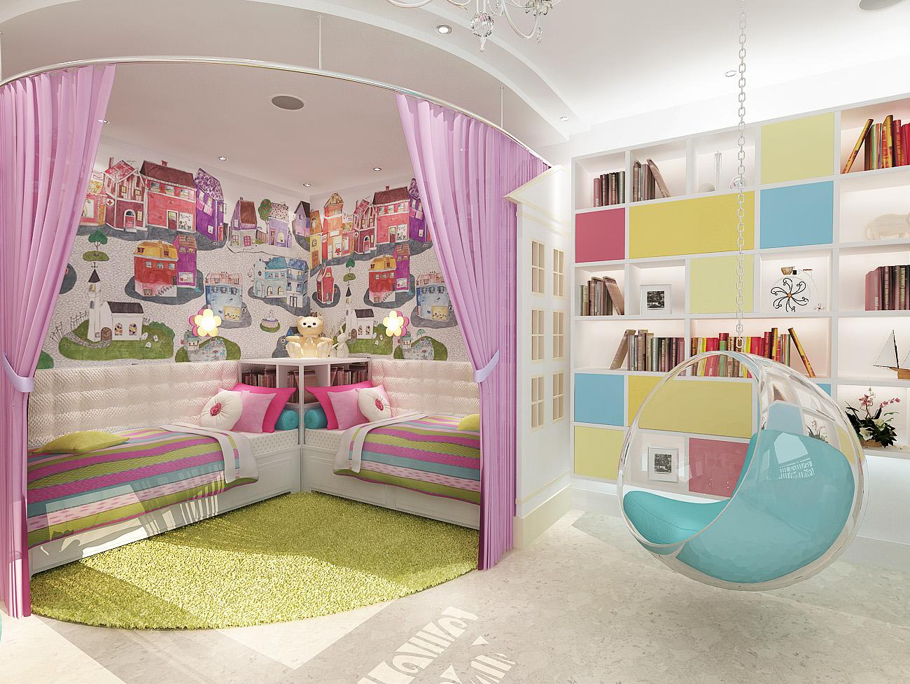 Дизайн-проект яркой детской комнаты 22 кв. м в классическом стиле для двух девочек