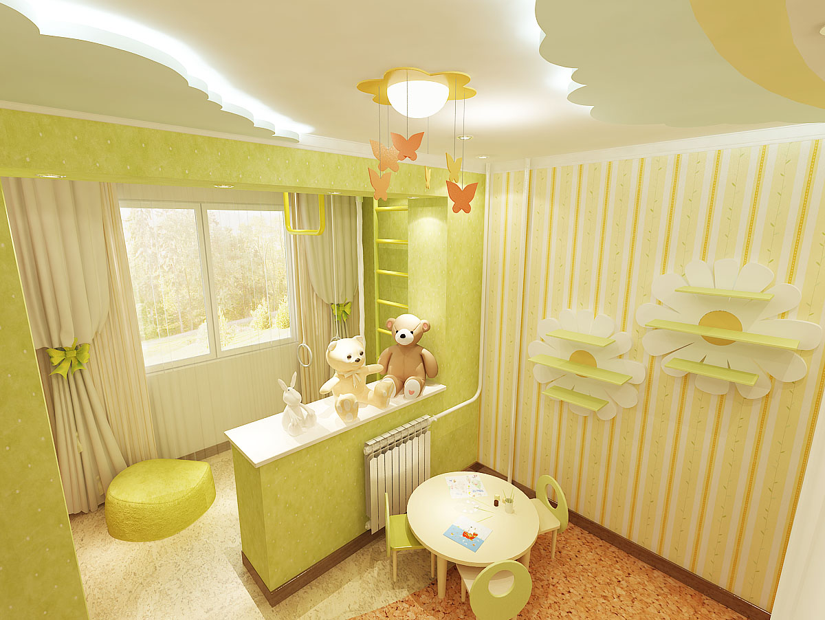 Дизайн-проект детской комнаты 9 кв. м с присоединенной лоджией для девочки 5 лет