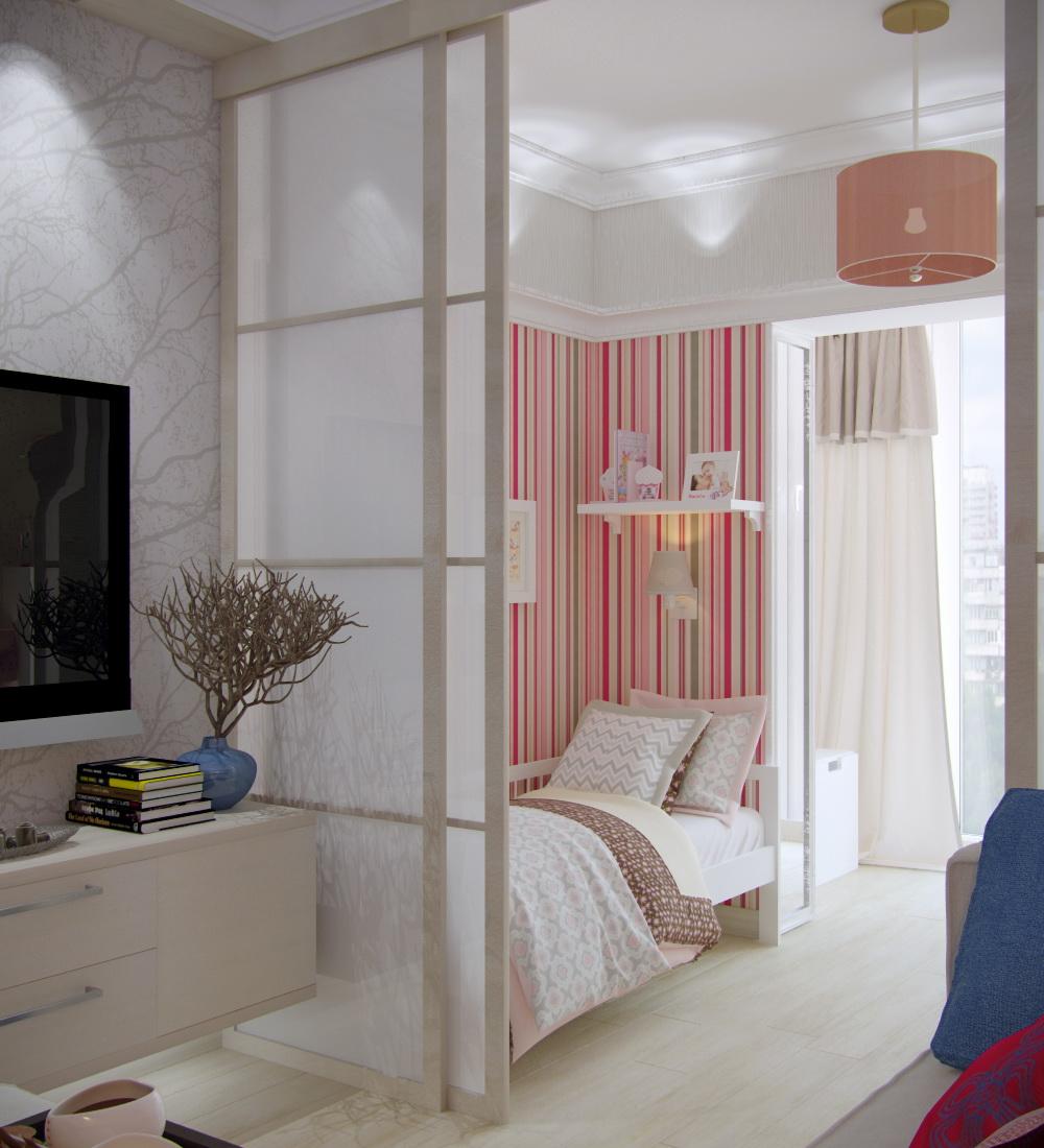 Дизайн-проект детской-гостиной 19 кв. м в однокомнатной квартире с присоединенным балконом