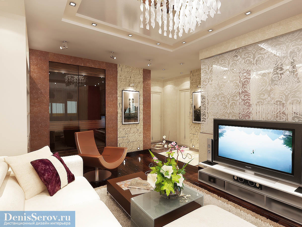 Дизайн проект однокомнатной квартиры 40 кв.м. с кухней-гостиной.