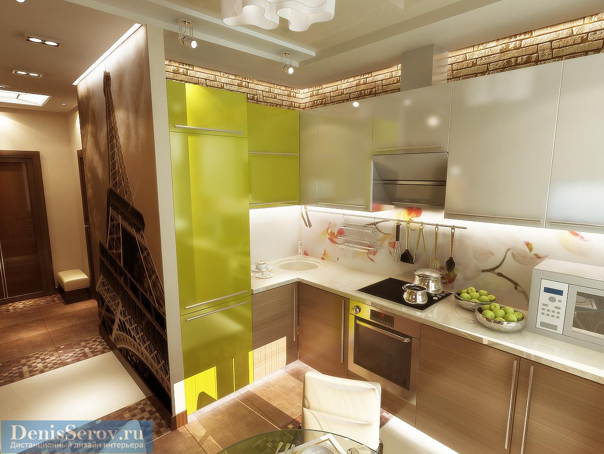 Дизайн — проект однокомнатной квартиры 35 кв.м. со спальней