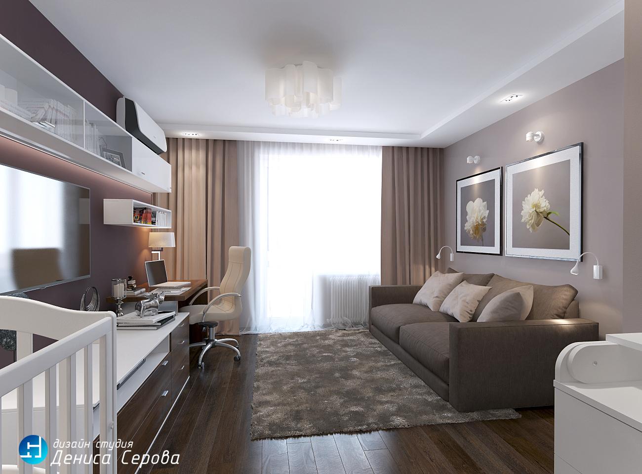 Дизайн — проект однокомнатной квартиры 40 кв.м. с гостиной-детской.