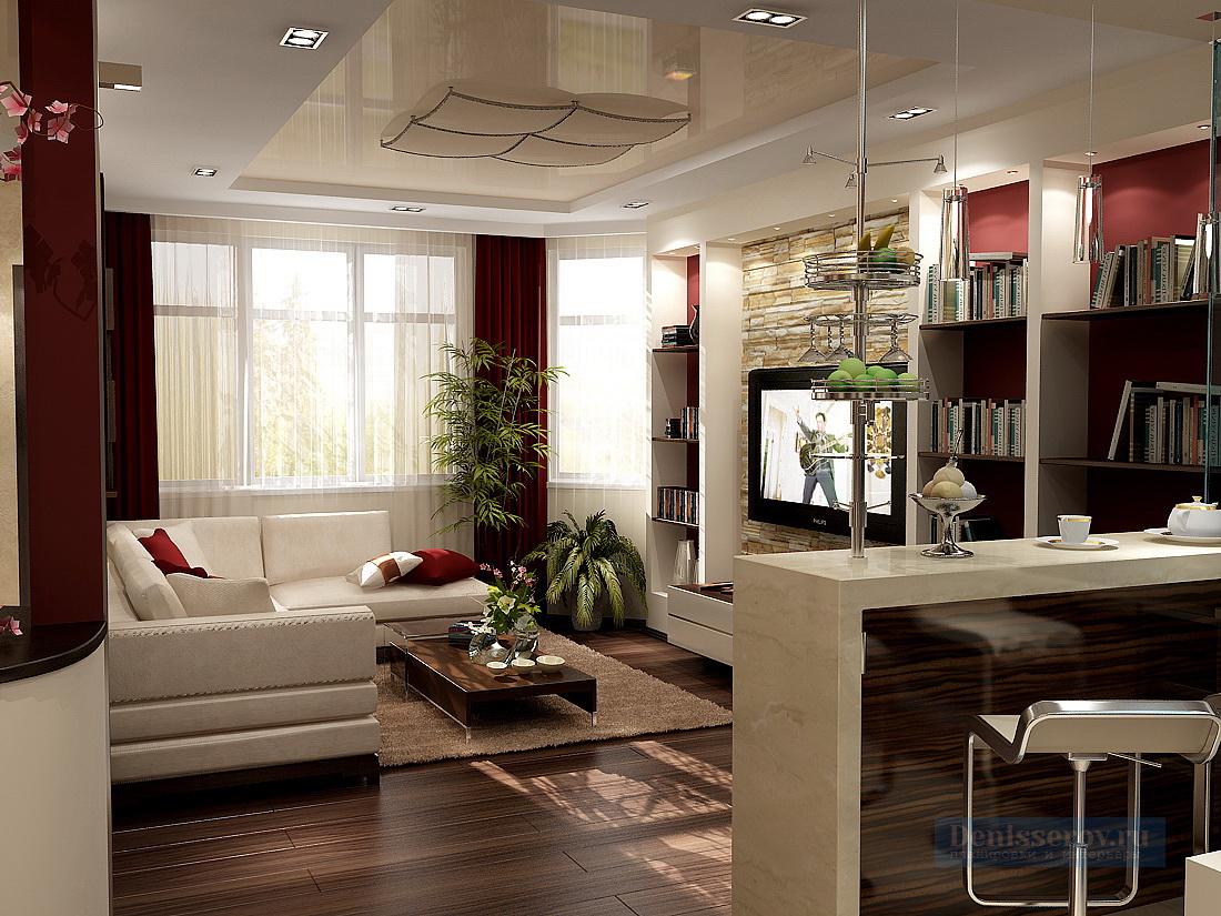 Дизайн — проект однокомнатной квартиры 48 кв.м. с гостиной-спальней.