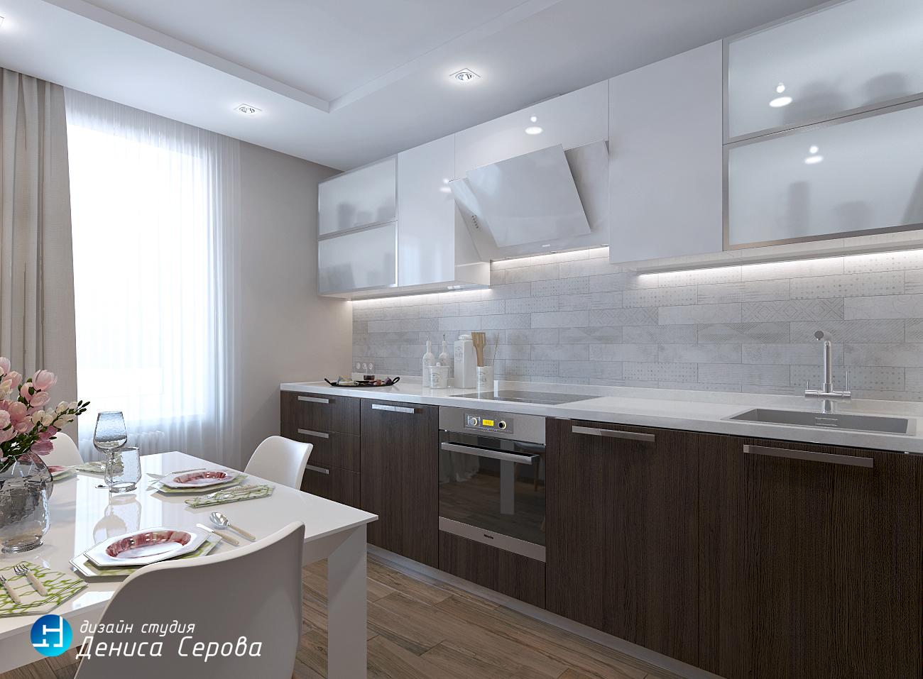 однокомнатная квартира 40 кв.м. дизайн проект