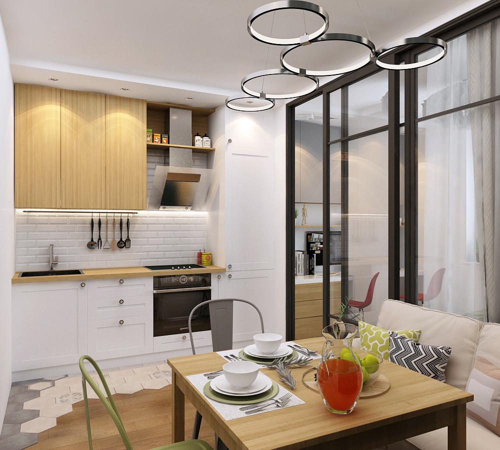 Дизайн — проект студии 33 кв.м. в Москве