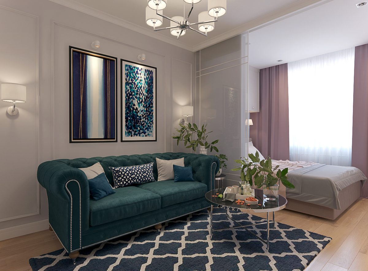 Дизайн проект однокомнатной квартиры 35 кв.м.  в Санкт — Петербурге