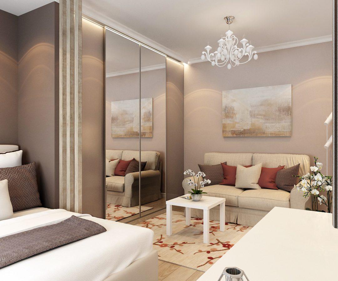 Дизайн проект однокомнатной квартиры 34 кв.м.