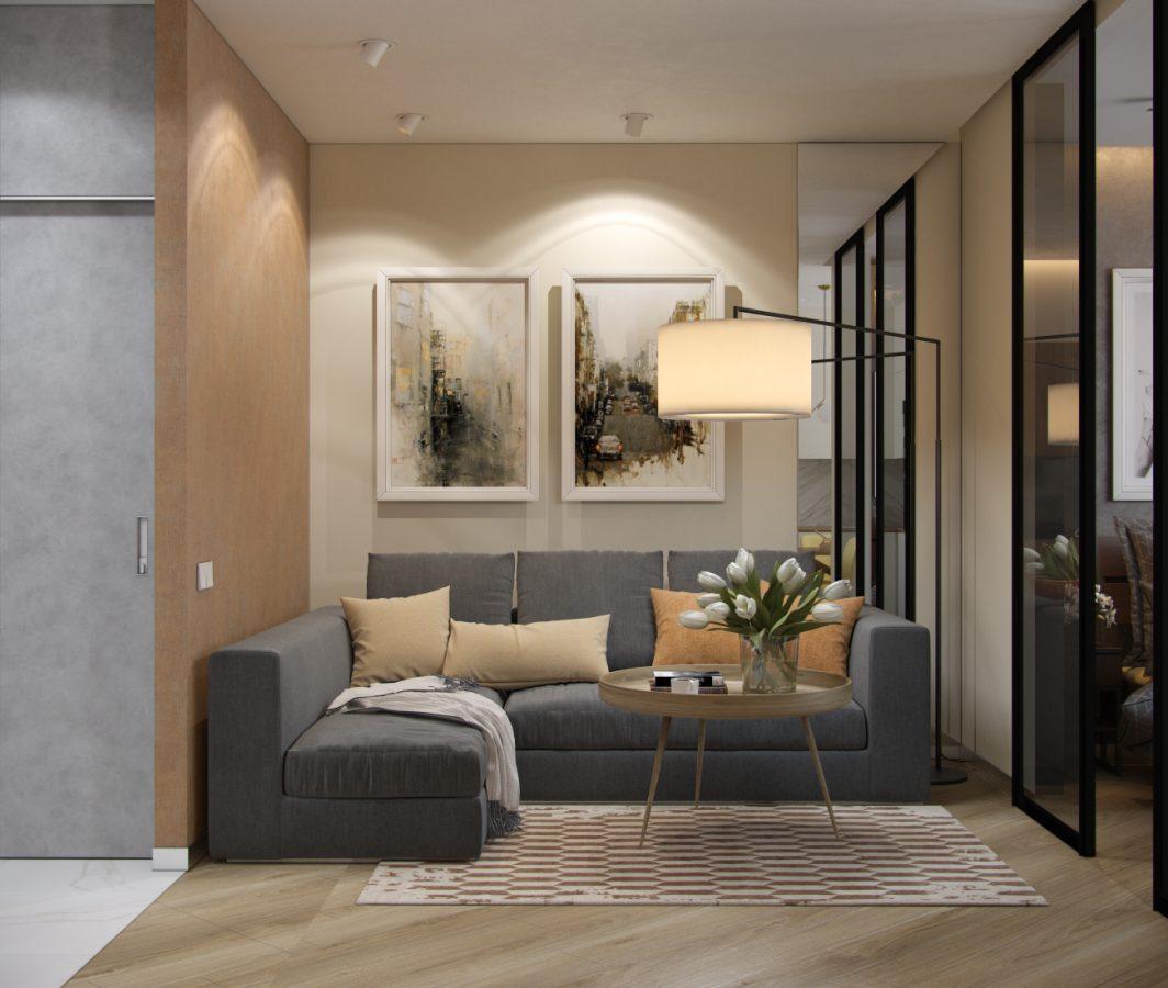 Проект однокомнатной квартиры 45 кв.м. в Москве.